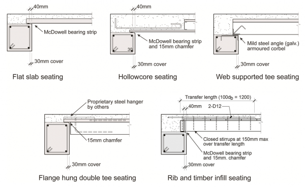 Precast floor seating details.