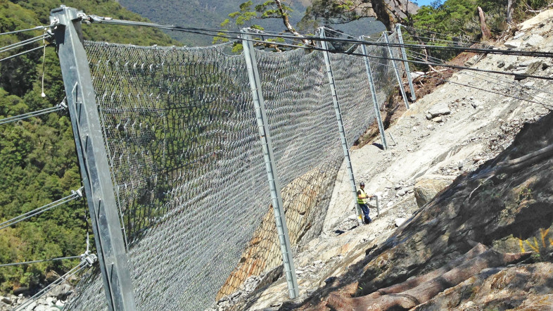 Rockfall attenuator system at Diana Falls (Photo: Geovert)