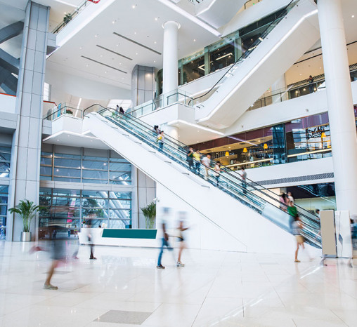 Interior of a busy shopping mall