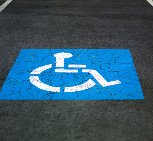 Close-up of an accessible car parking space