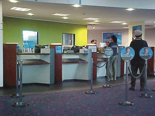 A good example of counters at a bank that are all accessible to everyone.