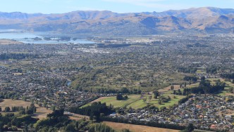 Aerial view of residential housing in Christchurch