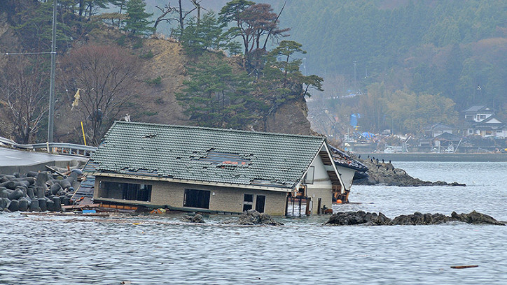 Damaged house slipped into harbour