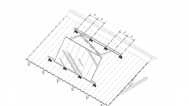 Diagram of solar panels on a roof