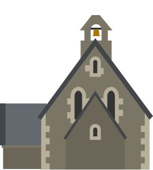 Illustration of old fashioned church similar to Christchurch cathedral