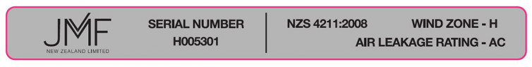 Example NZS4211:2008 compliant timber joinery tag