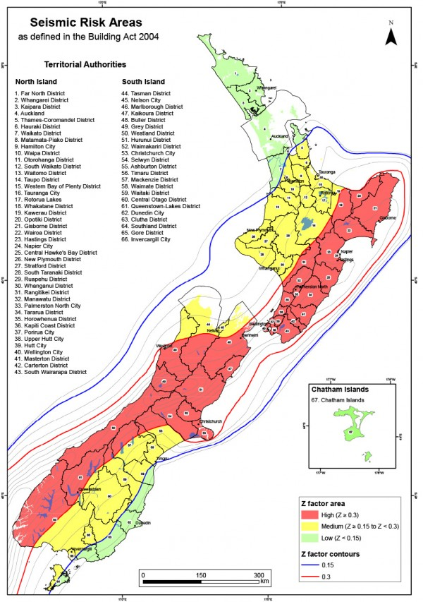 Map of seismic risk areas – indicative only