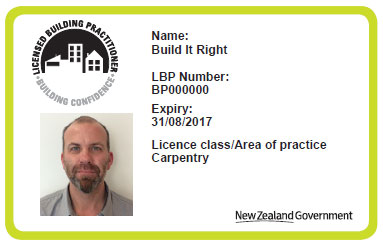 Example of a licensed building practitioner's identification card.