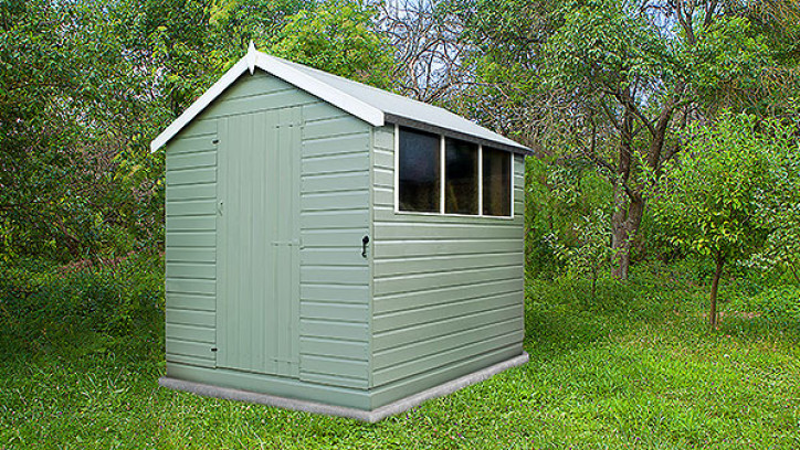Medium sized metal shed with no windows.